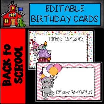 BIRTHDAY CARDS: Editable Birthday Cards Hippo Theme