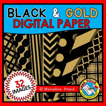 NEW YEAR CLIPART (BLACK AND GOLD DIGITAL PAPER)