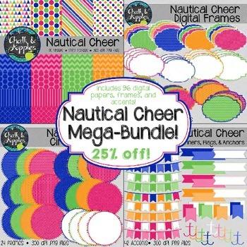 Nautical Cheer BUNDLE - Digital Papers, Frames, Buntings,