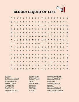BLOOD: LIQUID OF LIFE WORD SEARCH