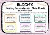 BLOOM'S READING COMPREHENSION QUESTION TASK CARDS Chevron Pastels