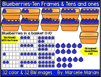 Place value clipart & ten frames-Blueberries