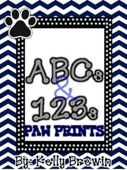BLUE/BLACK {Paw Print} ABCs & 123s