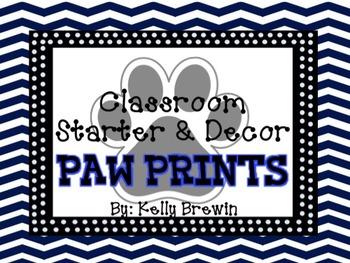 BLUE/BLACK {Paw Print} Classroom Starter & Decor Set