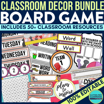 BOARD GAMES THEME Classroom Decor - EDITABLE Clutter-Free