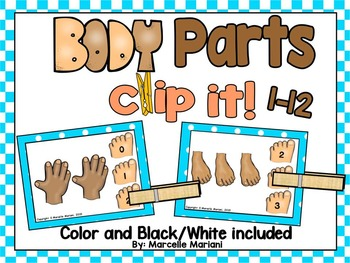 BODY PARTS, Count & Pin Math Center Game- Color + Black and white
