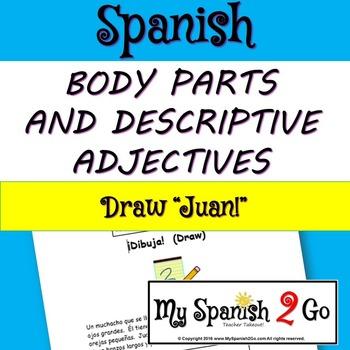 BODY PARTS: Draw the person in the description. Spanish.