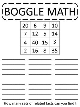 BOGGLE MATH - game, center, multiplication, division, rela