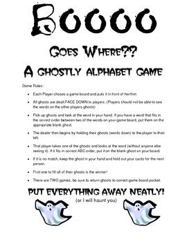 BOO Goes Where - Alphabetizing Game