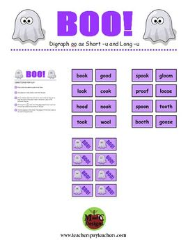 BOO! Halloween Phonics Game Activity Digraph oo as Short -