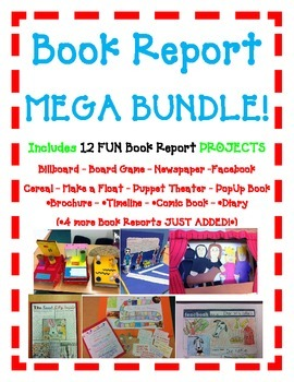BOOK REPORT 12 Projects MEGA BUNDLE Board Game-Newspaper-F