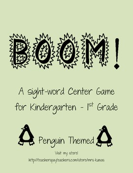 BOOM Sight Word Game - Penguin Themed