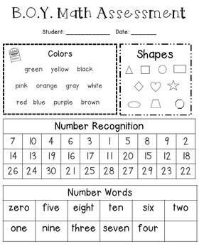 B.O.Y Math Assessment