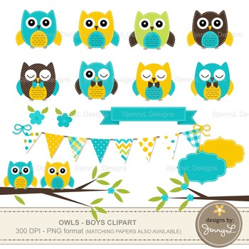 BOY Owl Clipart, Turquoise Owl, Yellow Stitched Owl, Tree