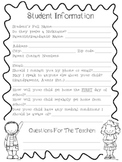 Student Information Form- Beginning of the Year