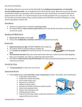 BOY Student/Parent Expectations Letter