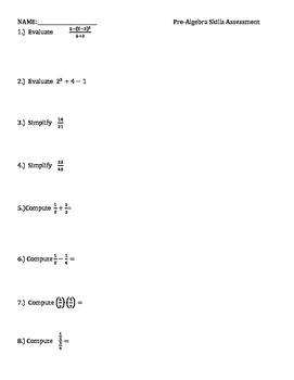 BRIEF - pre-algebra quiz
