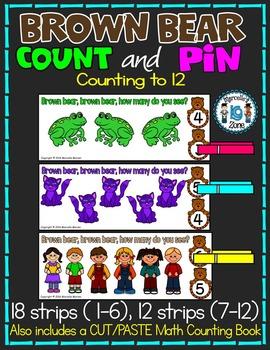 BROWN BEAR MATH CENTER- COUNT AND PIN & PRINTABLE MATH COU
