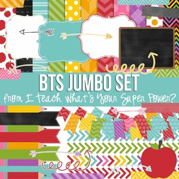 Digital Papers and Frames Stella Back to School Set