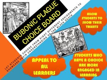 BUBONIC PLAGUE CHOICE BOARD WITH HANDOUTS & CCLS RUBRIC