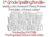 1st Grade Spelling- Lists, Menus, Pretest Slips, Parent Letter