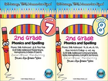 BUNDLE: 2nd Grade Phonics and Spelling Zaner-Bloser (Weeks 7-12)