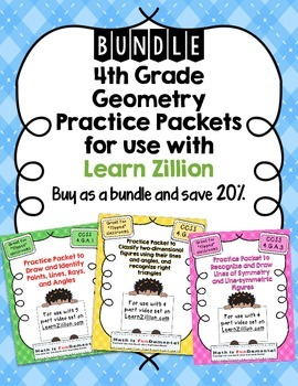 BUNDLE: 4th Grade Geometry Practice Packets for Use with L