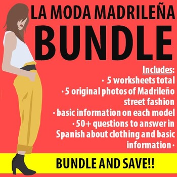 Spanish 1 - Moda Madrilena BUNDLE! 5 Worksheets - Original