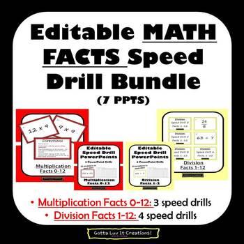 Editable Math Facts Division & Multiplication Fluency - 7