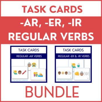 BUNDLE -AR -ER -IR Verb Conjugation Task Cards with Emojis