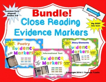 BUNDLE! All 3 Sets of Interactive Evidence Markers! CCSS (