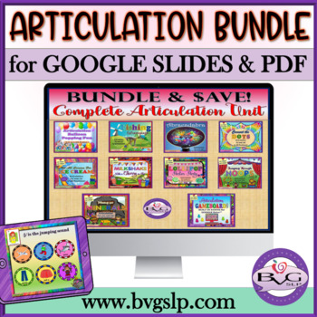 BUNDLE - Articulation Growing Unit Speech Teletherapy or Digital