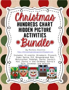 BUNDLE Christmas Hundreds Chart Hidden Picture Activities