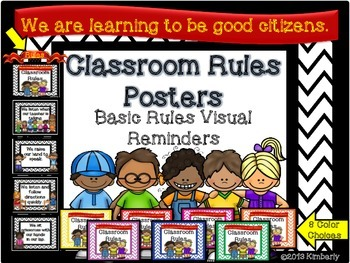 {BUNDLE} Classroom Rules Posters:Chevron Background in 8 D