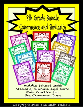 BUNDLE Congruence and Similarity Math Stations for Common