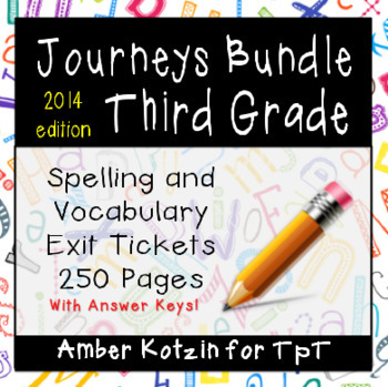 BUNDLE - EXIT TICKETS - Vocab and Spelling 3rd Grade Journ