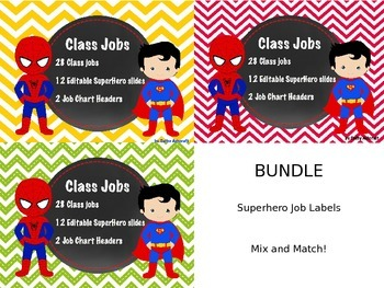 BUNDLE Editable Superhero Jobs In Chevron
