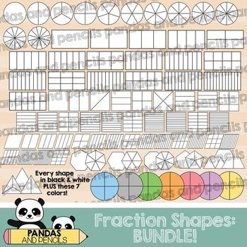 Fraction Shapes Clip Art:BUNDLE! Circles/Squares/Rectangle