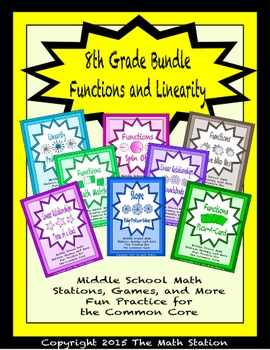 BUNDLE Functions & Linearity Math Stations for Common Core