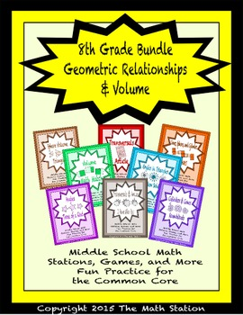 BUNDLE Geometry & Volume Math Stations for Common Core Eig