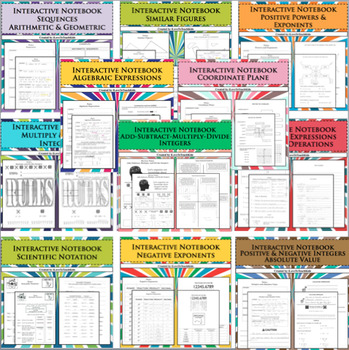 BUNDLE Interactive Notebook Note Pages 11 Separate Lessons