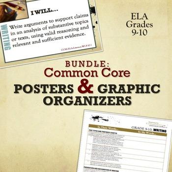 BUNDLE: Common Core Posters & Graphic Organizers ELA Grades 9-10