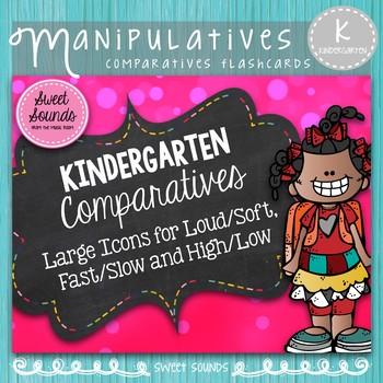 Kindergarten Music Comparatives Cards - Teacher Set {Large}
