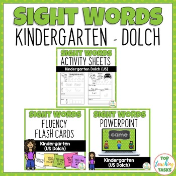 BUNDLE Kindergarten (Dolch) Activity Sheets, PowerPoint &