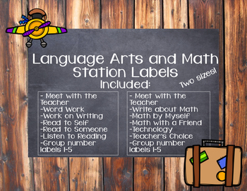 BUNDLE Language Arts and Math Station Labels