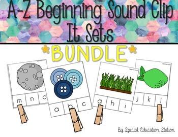 *BUNDLE* Letters A-Z Beginning Sounds Clip It {A Beginning
