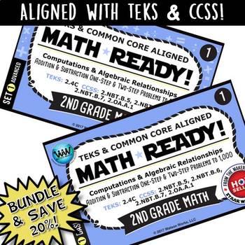 BUNDLE ~ MATH READY 2nd Grade Task Cards - Addition & Subt