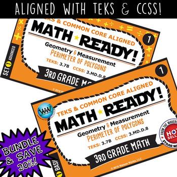 BUNDLE ~ MATH READY 3rd Grade Task Cards – Perimeter of Polygons