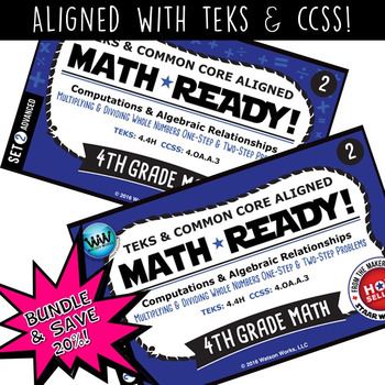 BUNDLE ~ MATH READY 4th Grade Task Cards – Multiply & Divi