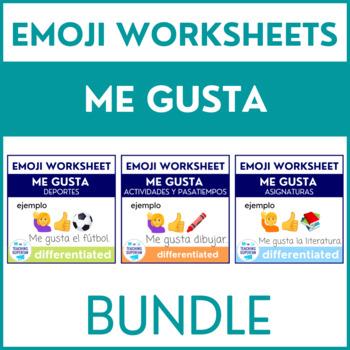 BUNDLE Me gusta Worksheets with Emojis {Spanish}